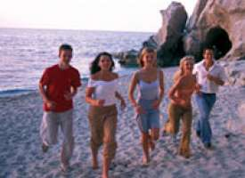 Etudiants sur la plage
